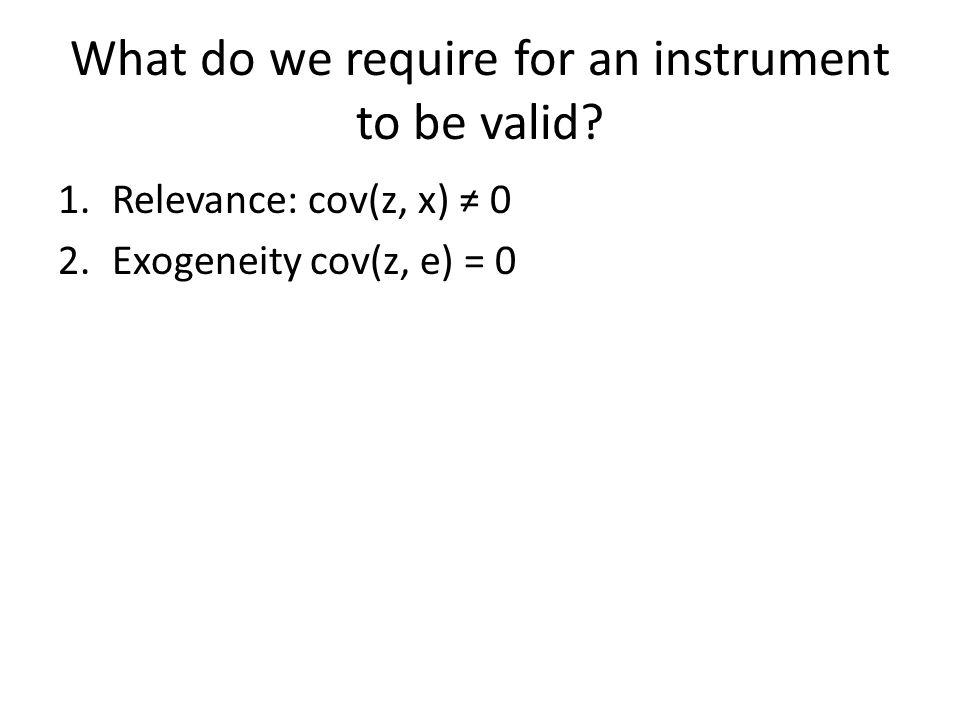 1.Relevance: cov(z, x) ≠ 0 2.Exogeneity cov(z, e) = 0
