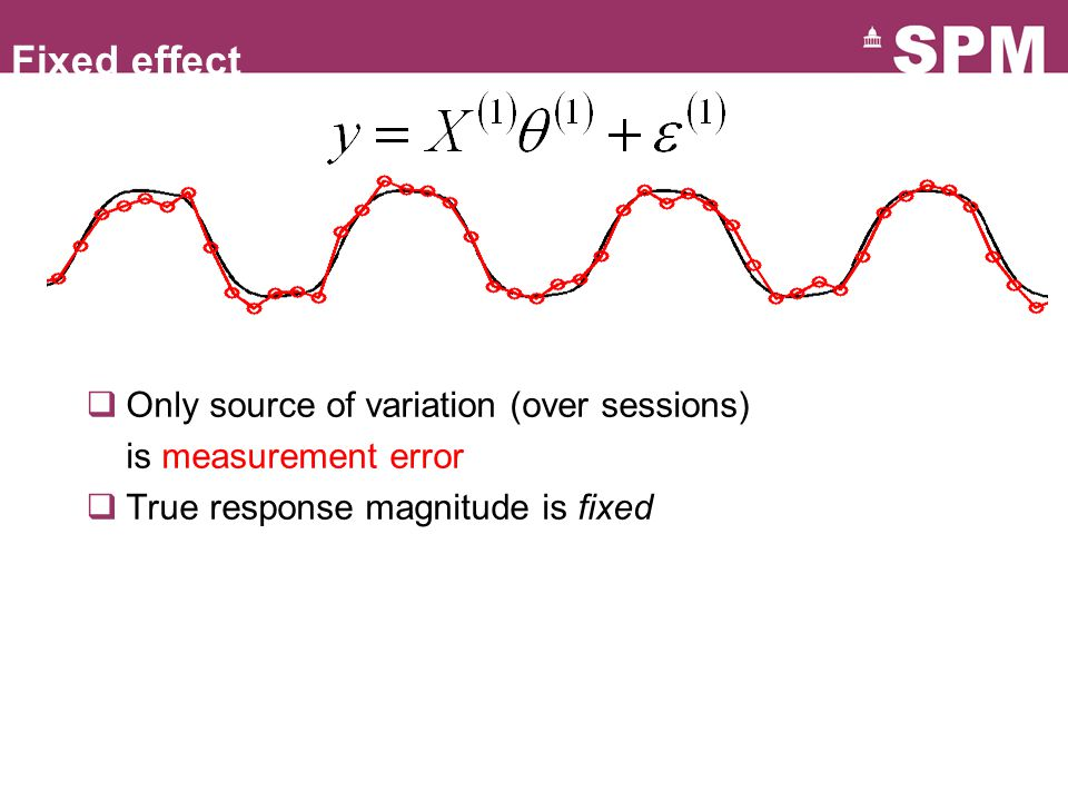  Only source of variation (over sessions) is measurement error  True response magnitude is fixed Fixed effect
