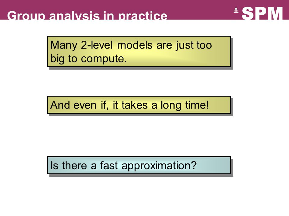 Group analysis in practice Many 2-level models are just too big to compute.