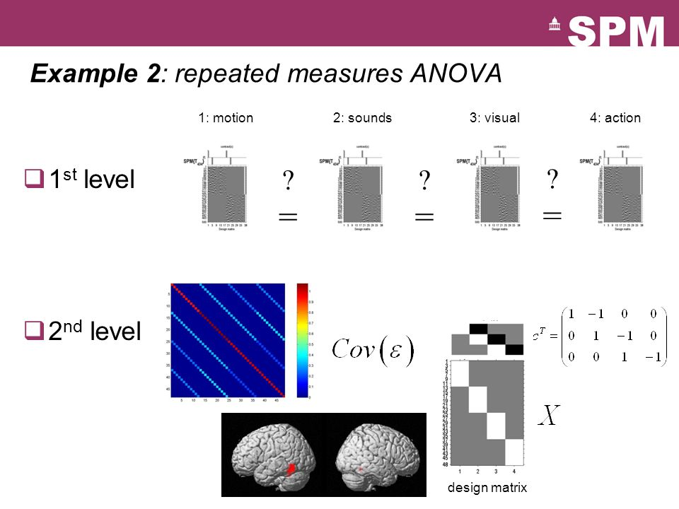 Example 2: repeated measures ANOVA ?=?= ?=?= ?=?= 1: motion2: sounds3: visual4: action  1 st level  2 nd level design matrix