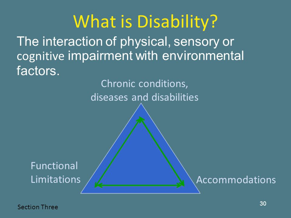 Chronic conditions, diseases and disabilities Accommodations Functional Limitations 30 What is Disability.