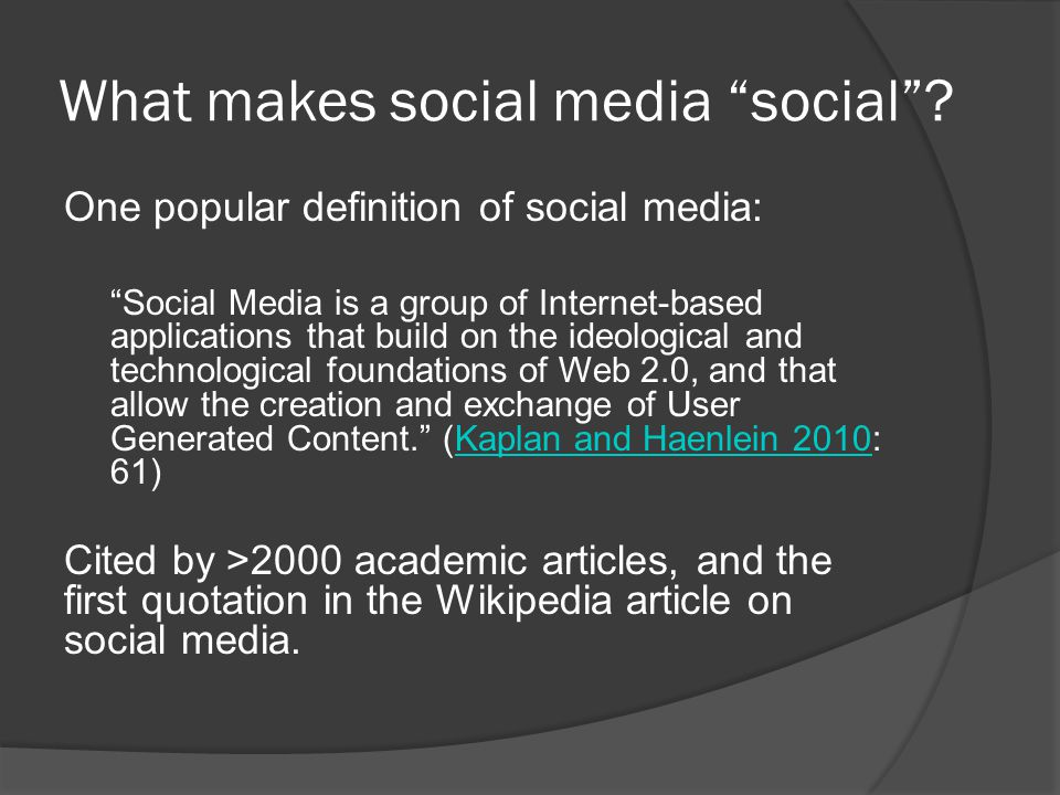 What makes social media social ? But what kind of media isn't social, by definition?