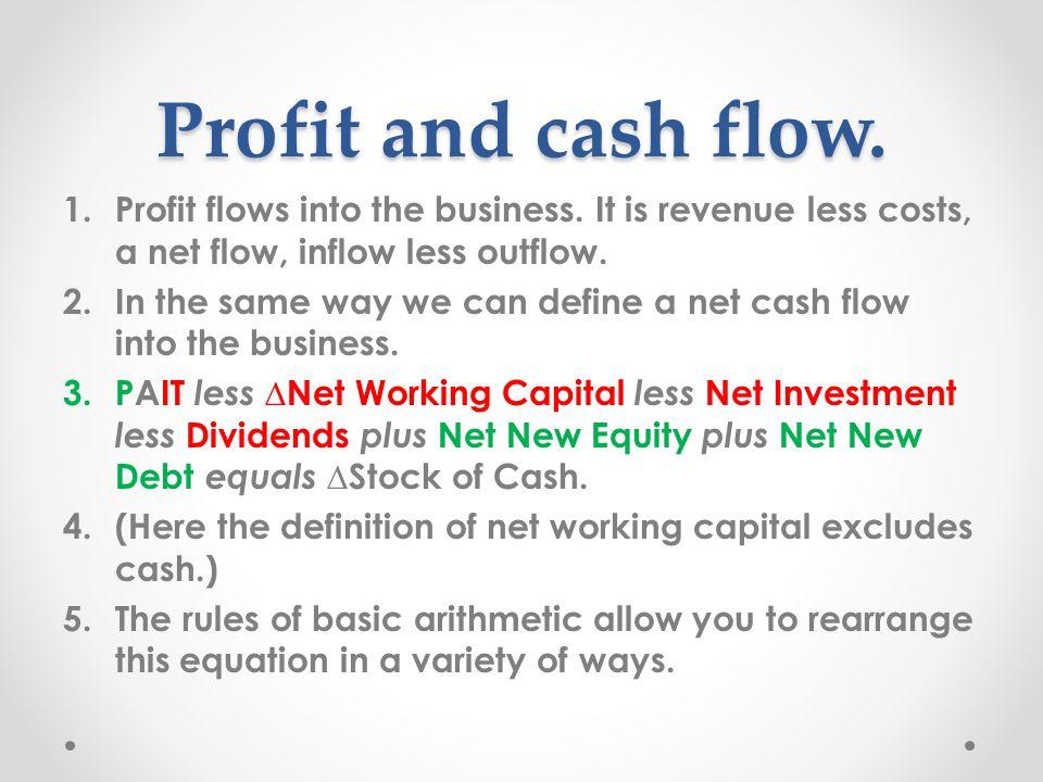 Profit and cash flow. 1.Profit flows into the business.