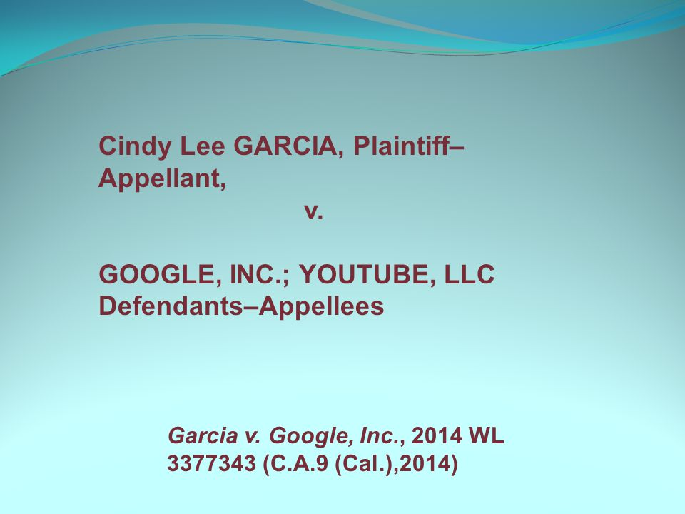 Cindy Lee GARCIA, Plaintiff– Appellant, v.