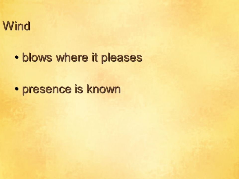Wind presence is knownpresence is known