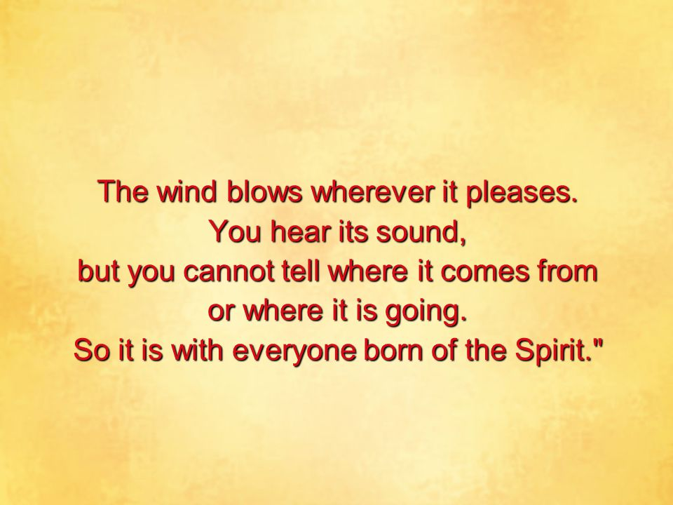 The wind blows wherever it pleases. You hear its sound, but you cannot tell where it comes from or where it is going. So it is with everyone born of t