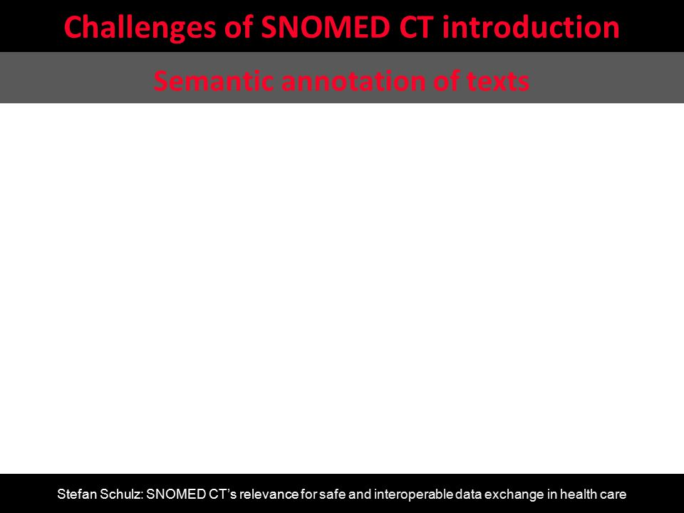 Stefan Schulz: SNOMED CT's relevance for safe and interoperable data exchange in health care Challenges of SNOMED CT introduction Semantic annotation
