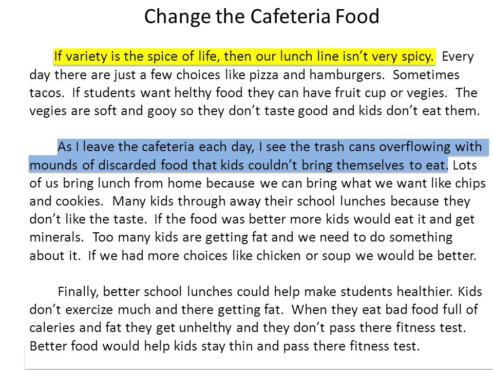 Change the Cafeteria Food If variety is the spice of life, then our lunch line isn't very spicy. Every day there are just a few choices like pizza and