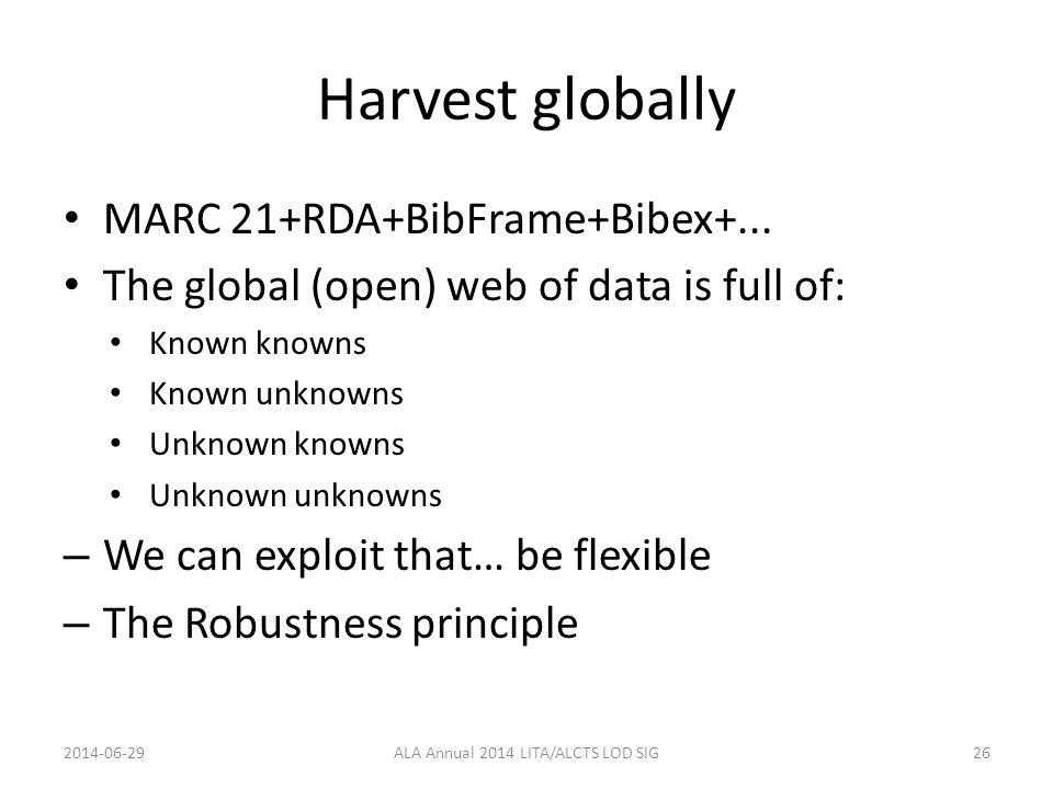 Harvest globally MARC 21+RDA+BibFrame+Bibex+...