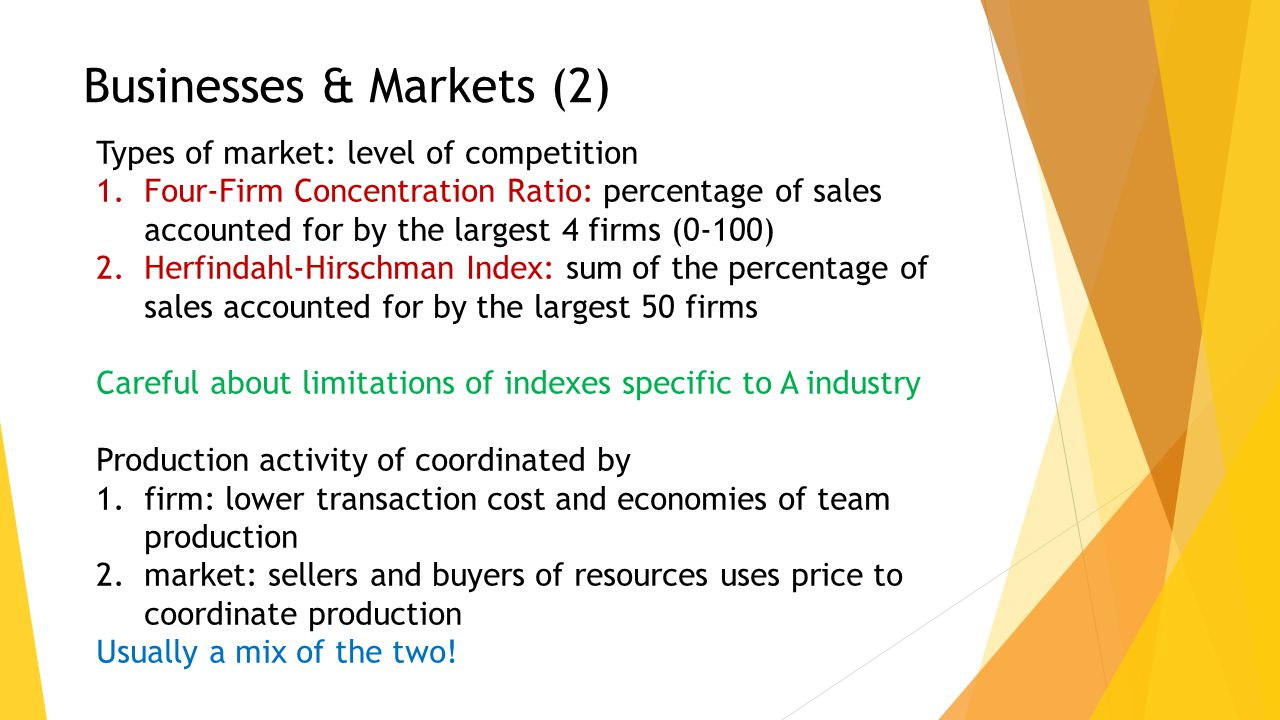 Types of market: level of competition 1.Four-Firm Concentration Ratio: percentage of sales accounted for by the largest 4 firms (0-100) 2.Herfindahl-H