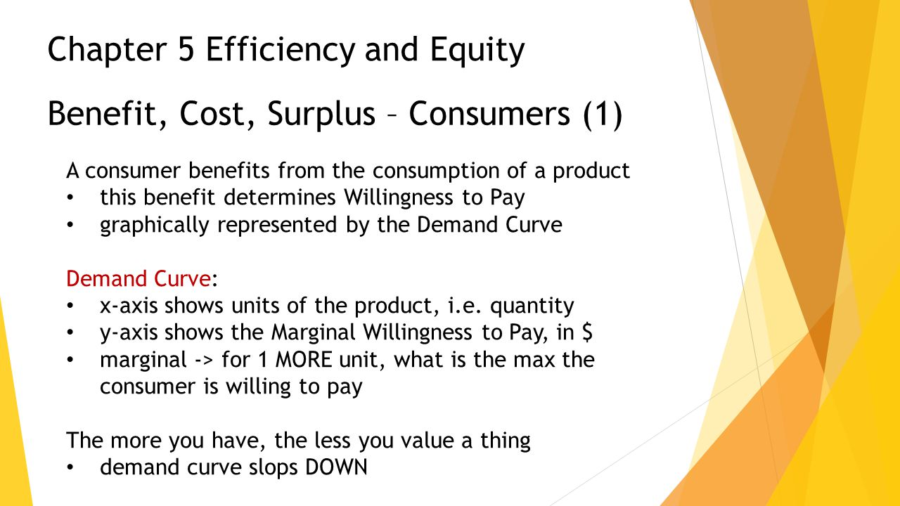 Benefit, Cost, Surplus – Consumers (1) A consumer benefits from the consumption of a product this benefit determines Willingness to Pay graphically re