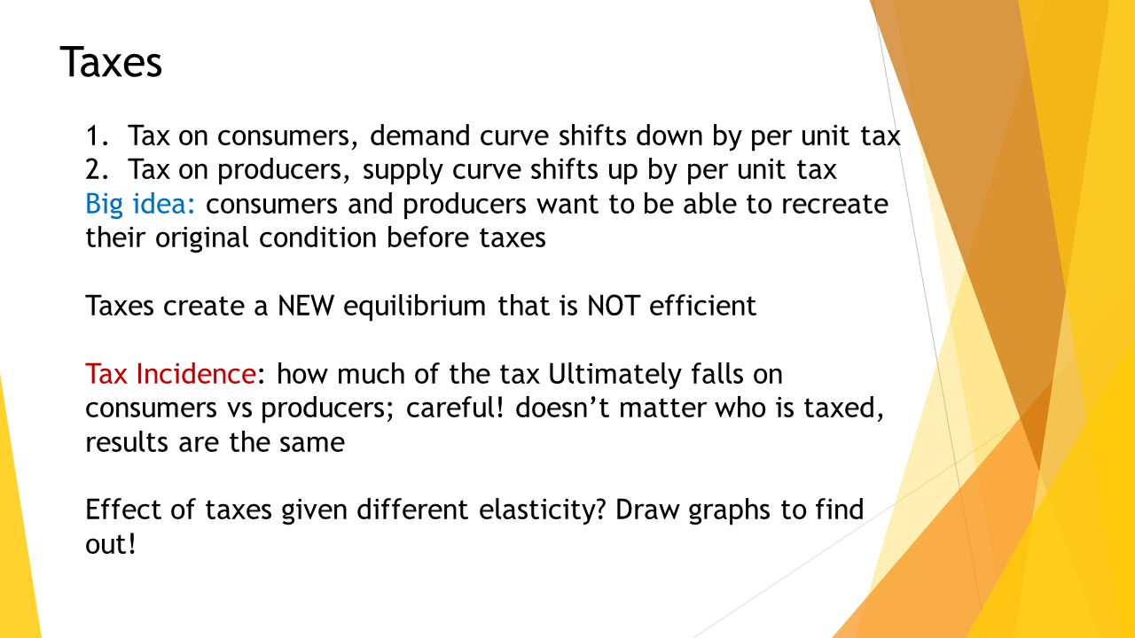 Taxes 1.Tax on consumers, demand curve shifts down by per unit tax 2.Tax on producers, supply curve shifts up by per unit tax Big idea: consumers and