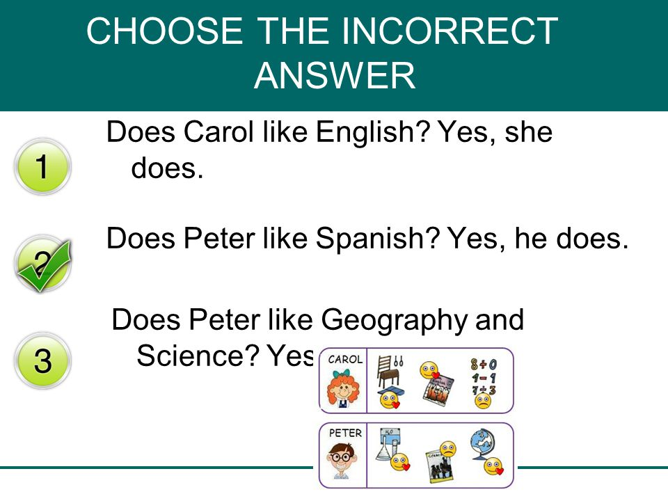 CHOOSE THE INCORRECT ANSWER Does Carol like English.