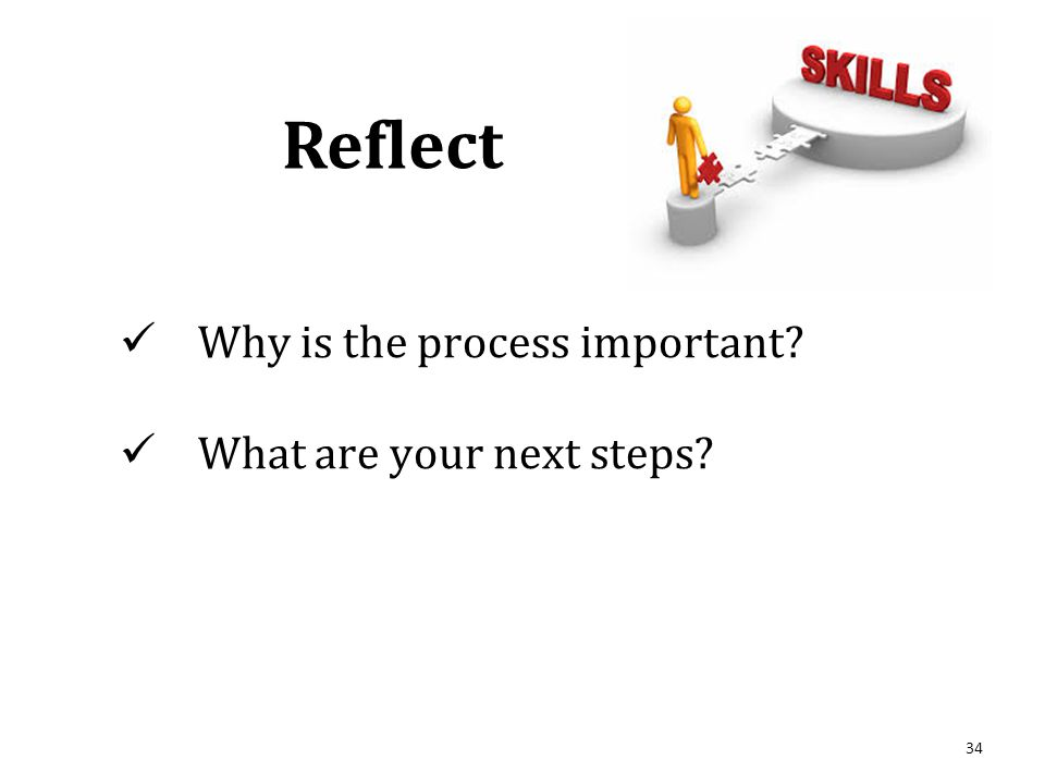 34 Why is the process important What are your next steps Reflect