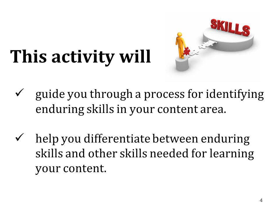 4 guide you through a process for identifying enduring skills in your content area.
