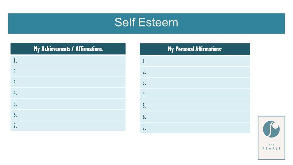 Self Esteem My Achievements / Affirmations: 1. 2. 3. 4. 5. 6. 7. My Personal Affirmations: 1. 2. 3. 4. 5. 6. 7.