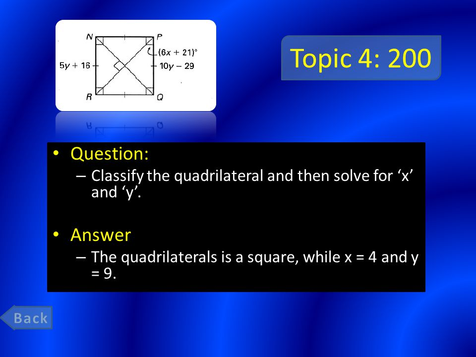 Topic 4: 200 Question: – Classify the quadrilateral and then solve for 'x' and 'y'.