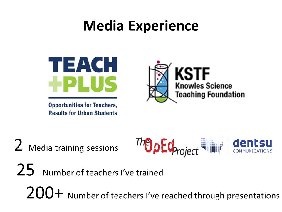 2 Media training sessions 25 Number of teachers I've trained 200+ Number of teachers I've reached through presentations