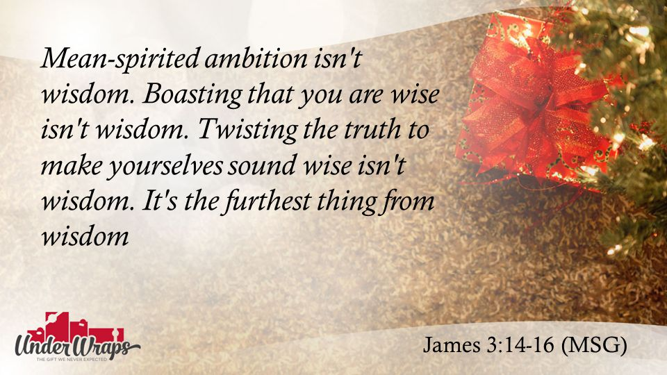 James 3:14-16 (MSG) Mean-spirited ambition isn t wisdom.