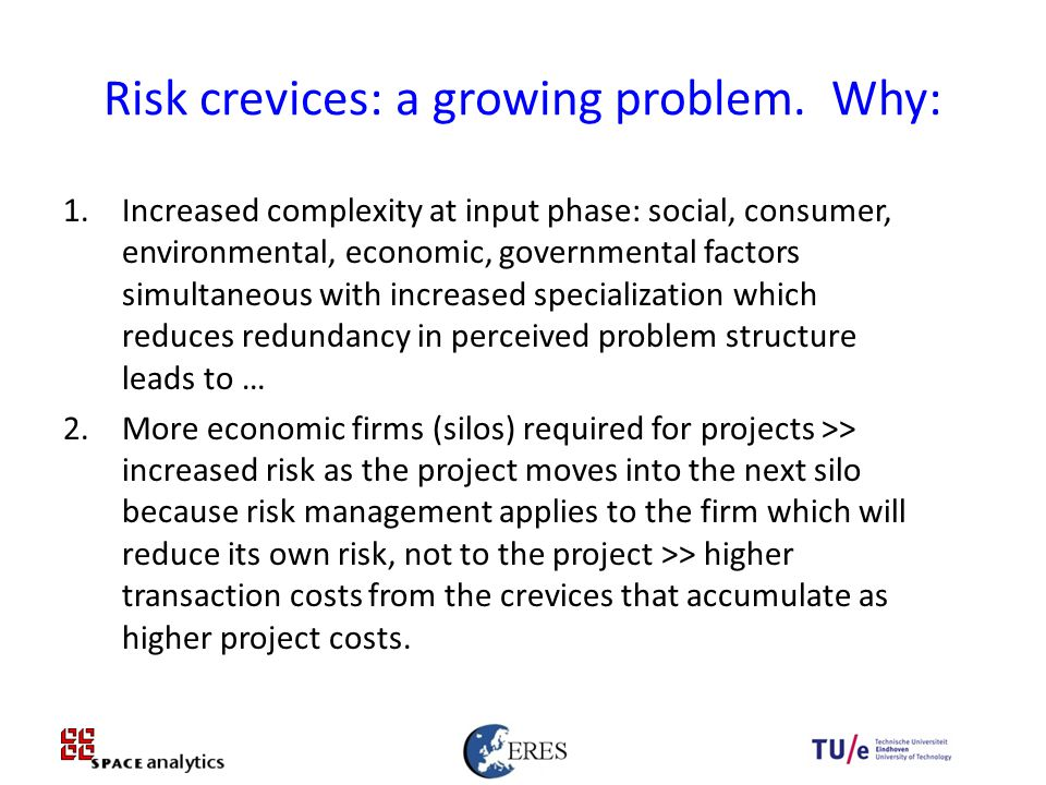 20 Risk crevices: a growing problem.