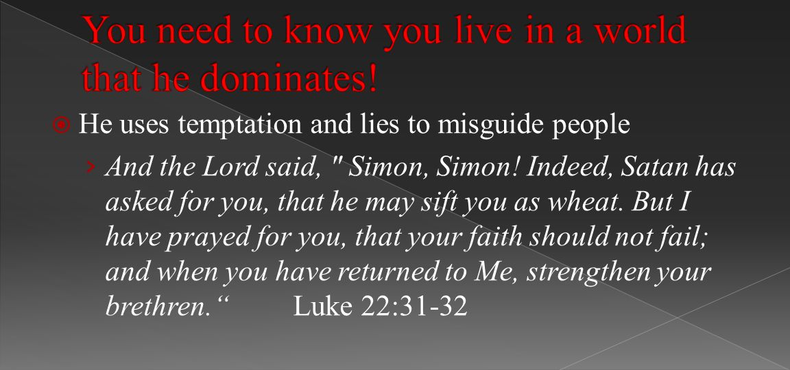  He uses temptation and lies to misguide people › And the Lord said, Simon, Simon.