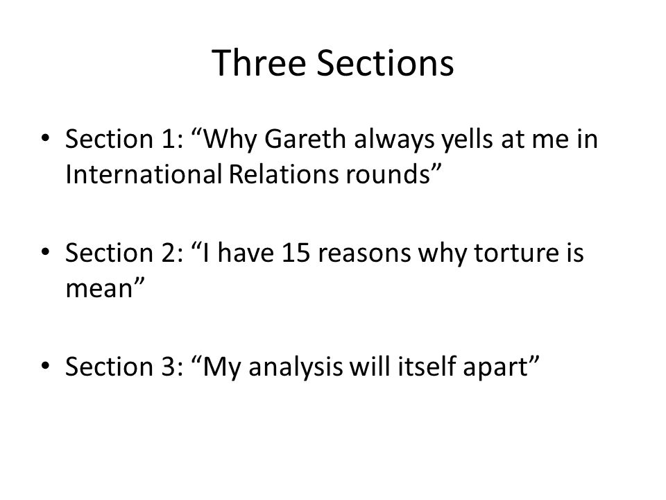 Three Sections Section 1: Why Gareth always yells at me in International Relations rounds Section 2: I have 15 reasons why torture is mean Section 3: My analysis will itself apart