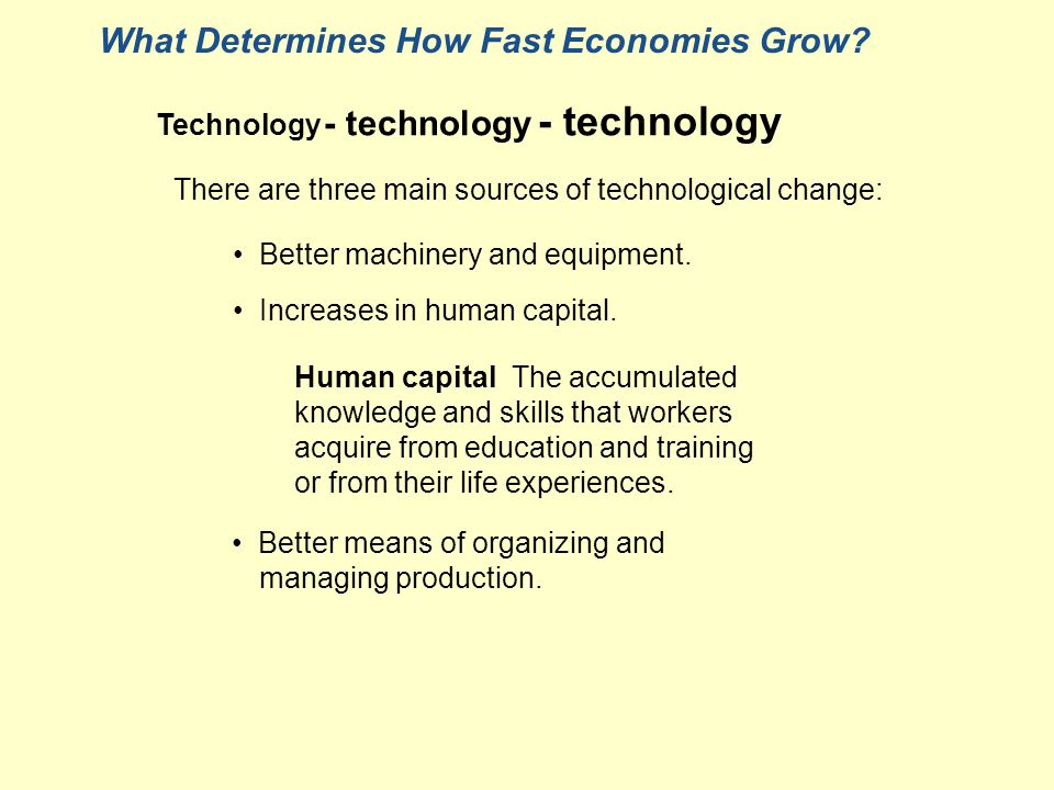 What Determines How Fast Economies Grow. Better machinery and equipment.