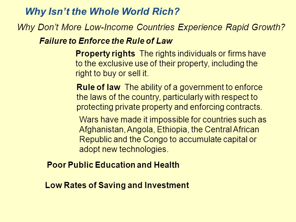 Why Isn't the Whole World Rich. Why Don't More Low-Income Countries Experience Rapid Growth.