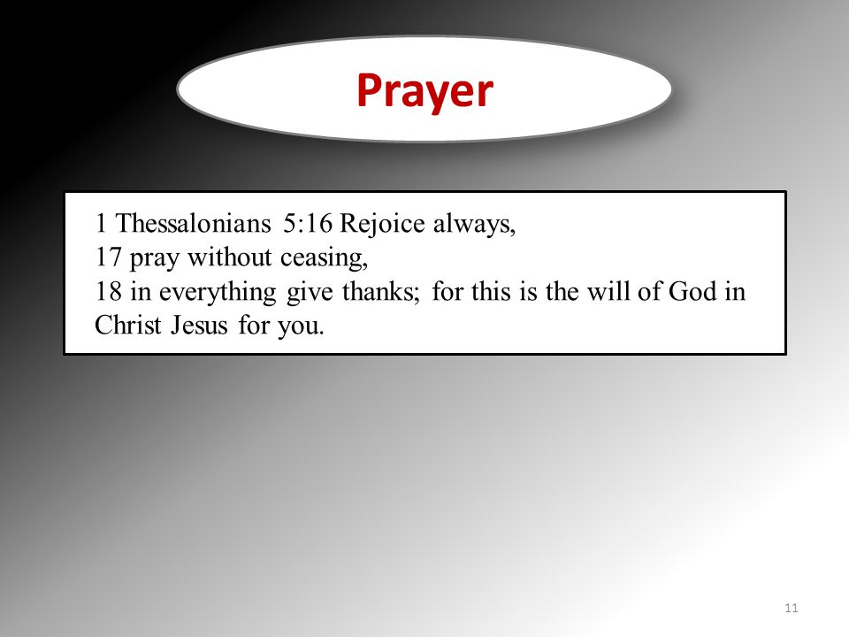Prayer 1 Thessalonians 5:16 Rejoice always, 17 pray without ceasing, 18 in everything give thanks; for this is the will of God in Christ Jesus for you