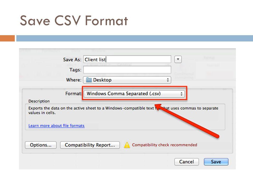 Save CSV Format