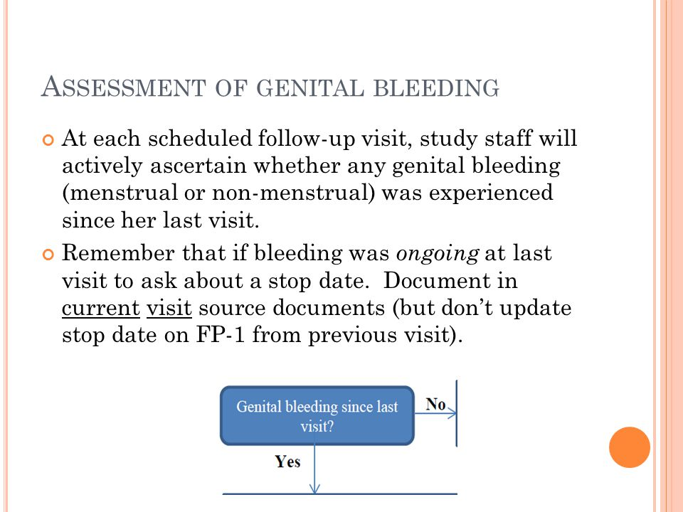 A SSESSMENT OF GENITAL BLEEDING At each scheduled follow-up visit, study staff will actively ascertain whether any genital bleeding (menstrual or non-menstrual) was experienced since her last visit.