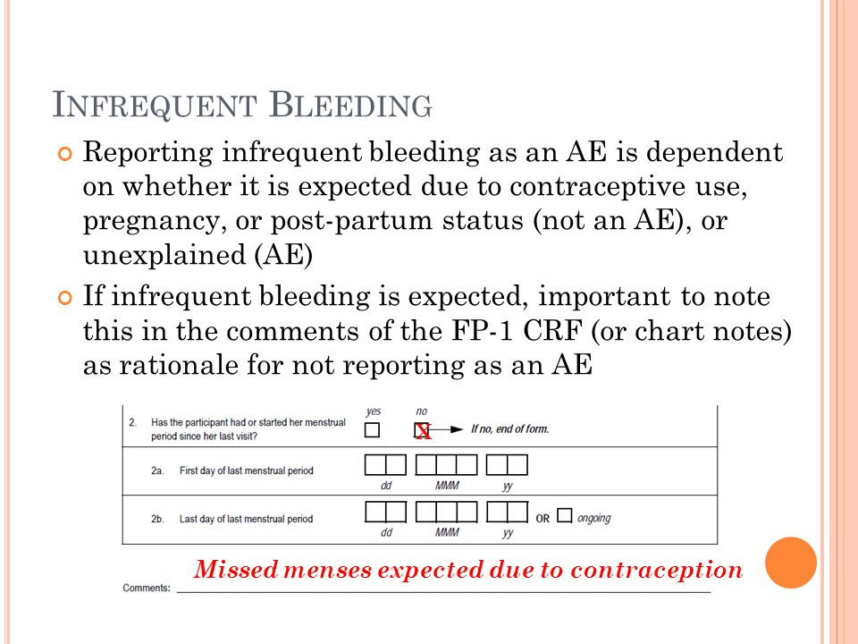 I NFREQUENT B LEEDING Reporting infrequent bleeding as an AE is dependent on whether it is expected due to contraceptive use, pregnancy, or post-partum status (not an AE), or unexplained (AE) If infrequent bleeding is expected, important to note this in the comments of the FP-1 CRF (or chart notes) as rationale for not reporting as an AE X Missed menses expected due to contraception