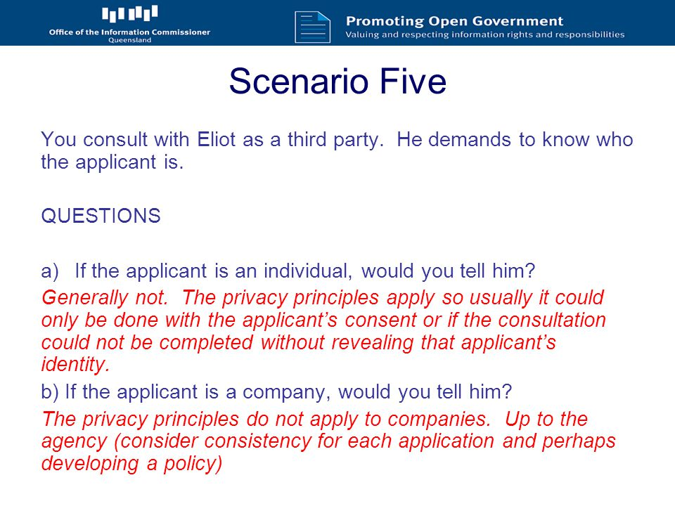 Scenario Five You consult with Eliot as a third party.