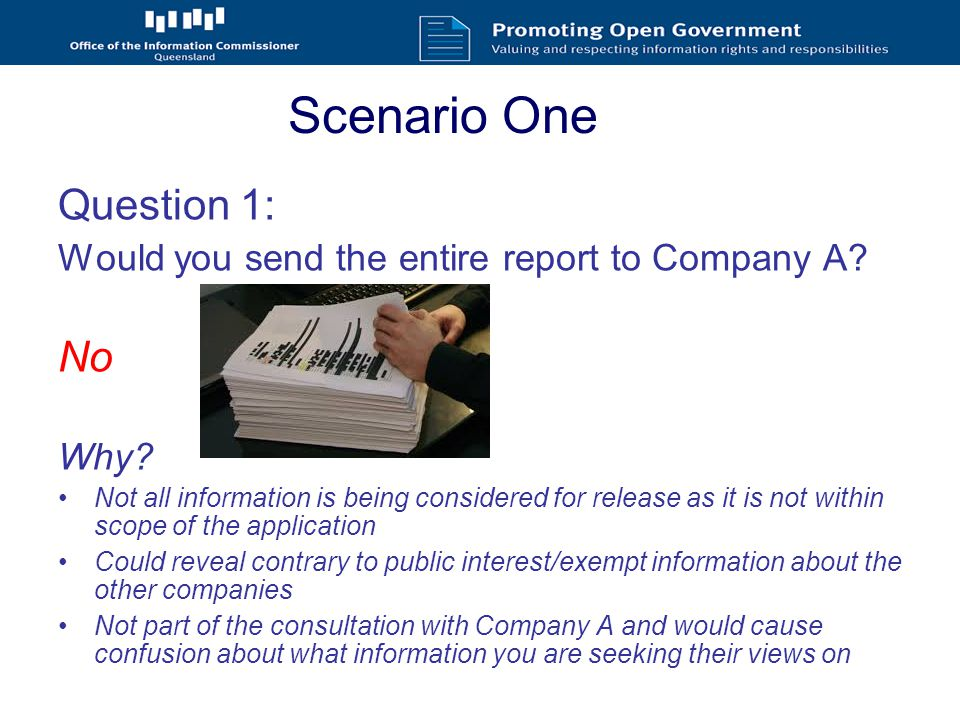 Scenario Three Questions 2) What if the Department said 'some submissions will be published online, subject to deletion of personal information?' a)Would you need to consult with the individuals.