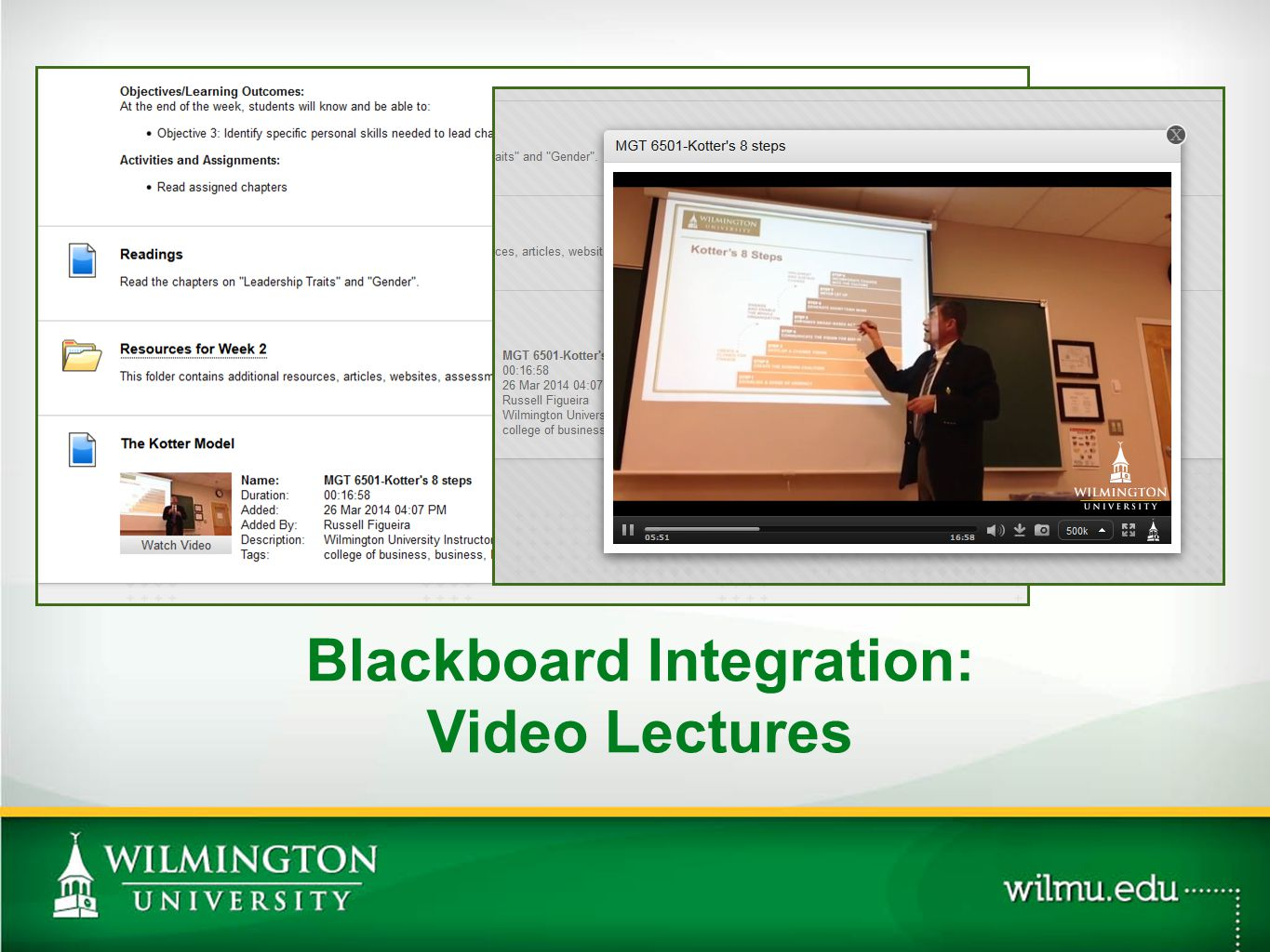 Blackboard Integration: Video Lectures PHOTO OPTION