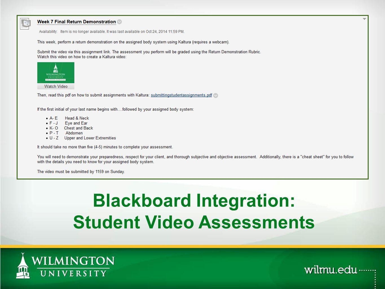 Blackboard Integration: Student Video Assessments PHOTO OPTION