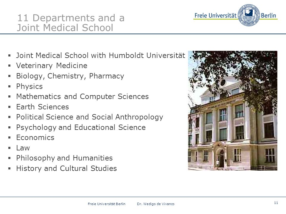 11 Freie Universität Berlin Dr. Wedigo de Vivanco 11 Departments and a Joint Medical School  Joint Medical School with Humboldt Universität  Veterin