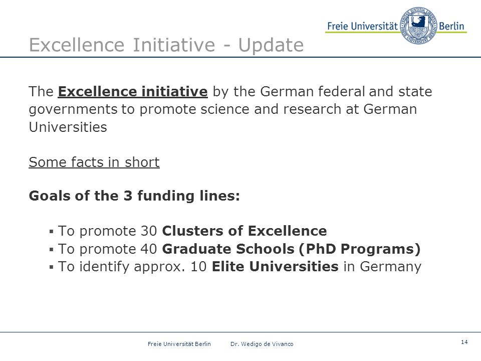 14 Freie Universität Berlin Dr. Wedigo de Vivanco Excellence Initiative - Update The Excellence initiative by the German federal and state governments