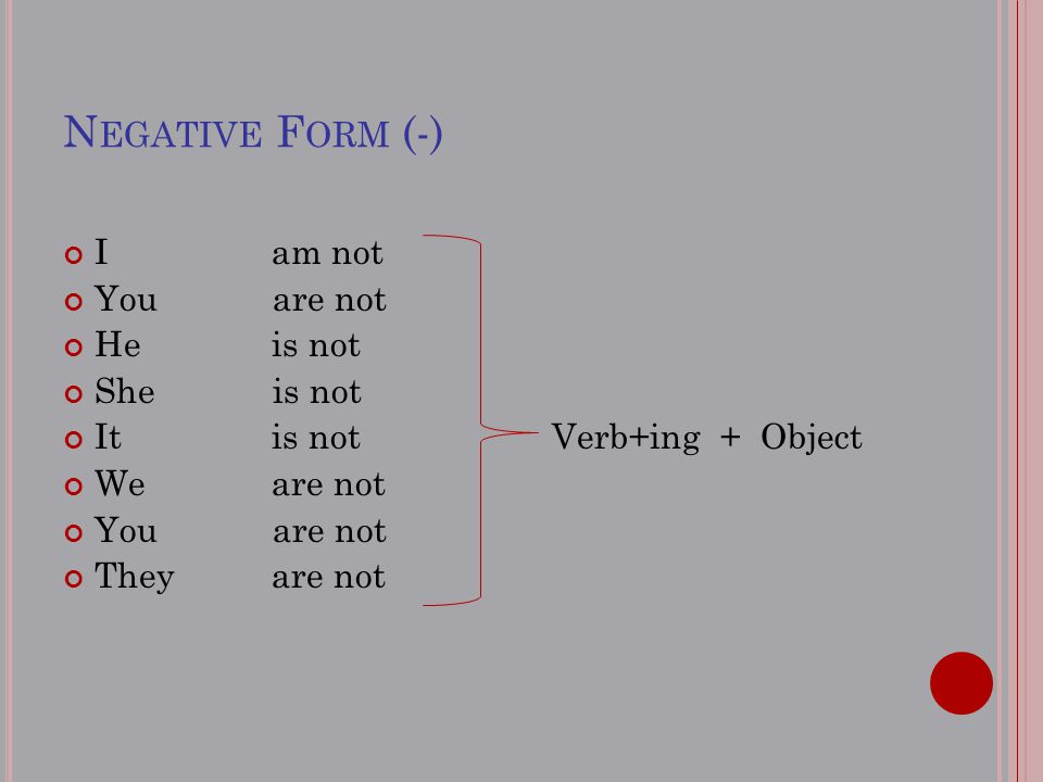 N EGATIVE F ORM (-) I am not You are not Heis not She is not Itis not Verb+ing + Object Weare not You are not Theyare not