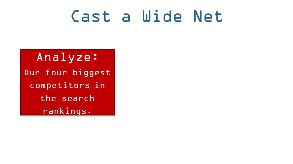 Cast a Wide Net Analyze: Our four biggest competitors in the search rankings. Analyze: Our four biggest competitors in the search rankings.