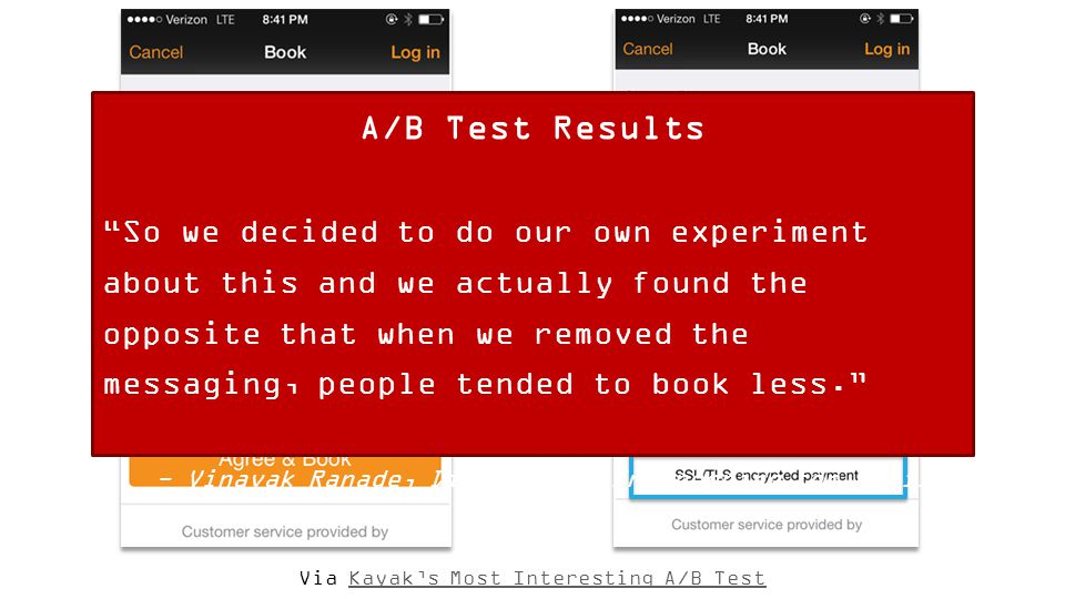 Via Kayak's Most Interesting A/B TestKayak's Most Interesting A/B Test A/B Test Results So we decided to do our own experiment about this and we actually found the opposite that when we removed the messaging, people tended to book less. - Vinayak Ranade, Director of Engineering for Mobile, KAYAK