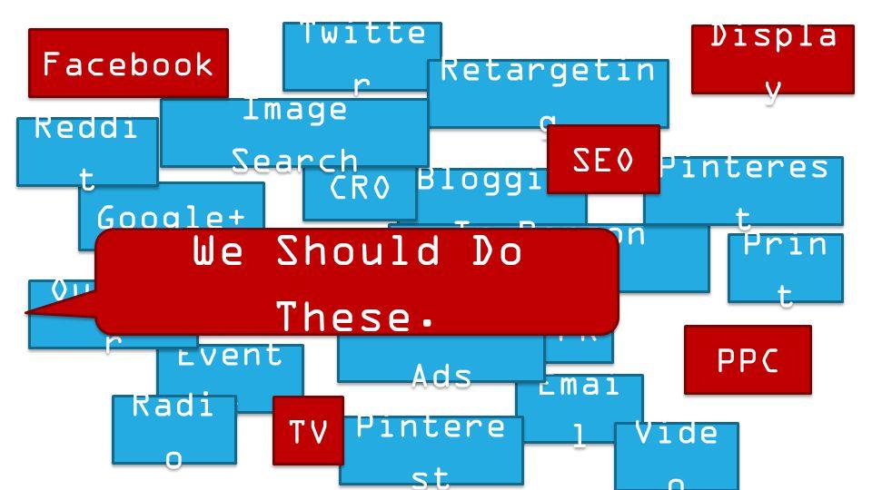 Bloggin g Twitte r Google+ Event s PR In-Person Sales Emai l Social Ads Retargetin g CRO Outdoo r Radi o Prin t Vide o Instagra m Pintere st Reddi t I