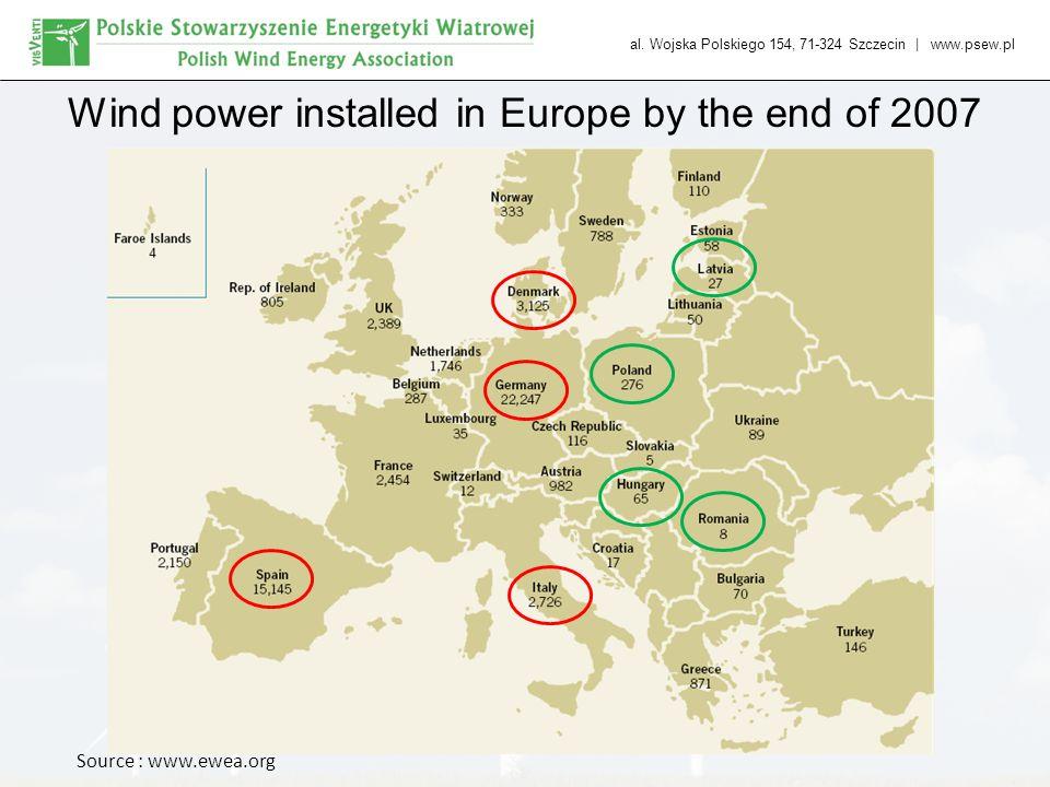 al. Wojska Polskiego 154, 71-324 Szczecin   www.psew.pl Wind power installed in Europe by the end of 2007 Source : www.ewea.org