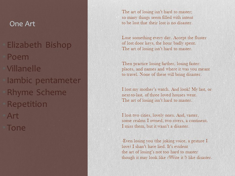 The author Name : Elizabeth Bishop Born: Feb.8 1911 In Worcester MA Died: Oct.