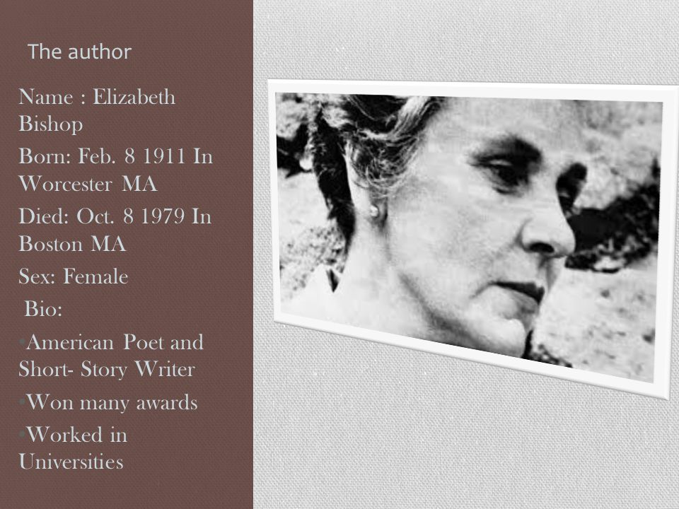 The author Name : Elizabeth Bishop Born: Feb. 8 1911 In Worcester MA Died: Oct. 8 1979 In Boston MA Sex: Female Bio: American Poet and Short- Story Wr