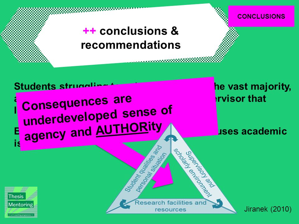 CONCLUSIONS ++ conclusions & recommendations Students struggling to write described in the vast majority, a poor working relationship with their supervisor that lacked trust; Being outside a 'community of practice' causes academic isolation Consequences are underdeveloped sense of agency and AUTHORity Jiranek (2010)