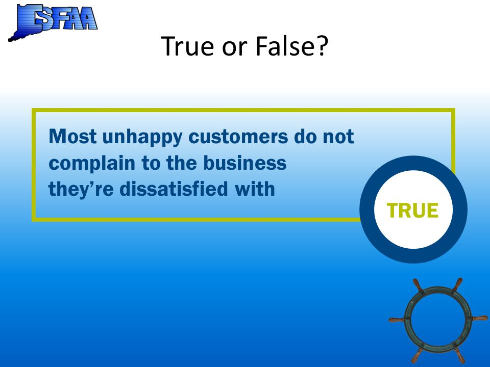 True or False? Most unhappy customers do not complain to the business they're dissatisfied with TRUE