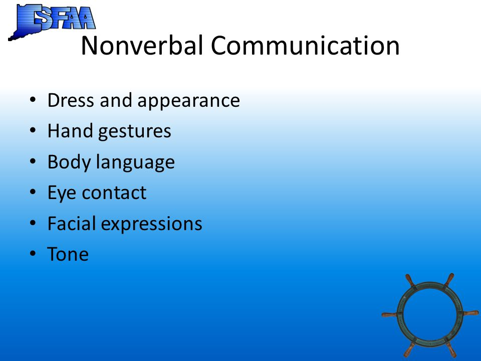 Nonverbal Communication Dress and appearance Hand gestures Body language Eye contact Facial expressions Tone