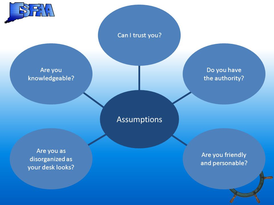 Assumptions Are you knowledgeable. Can I trust you.