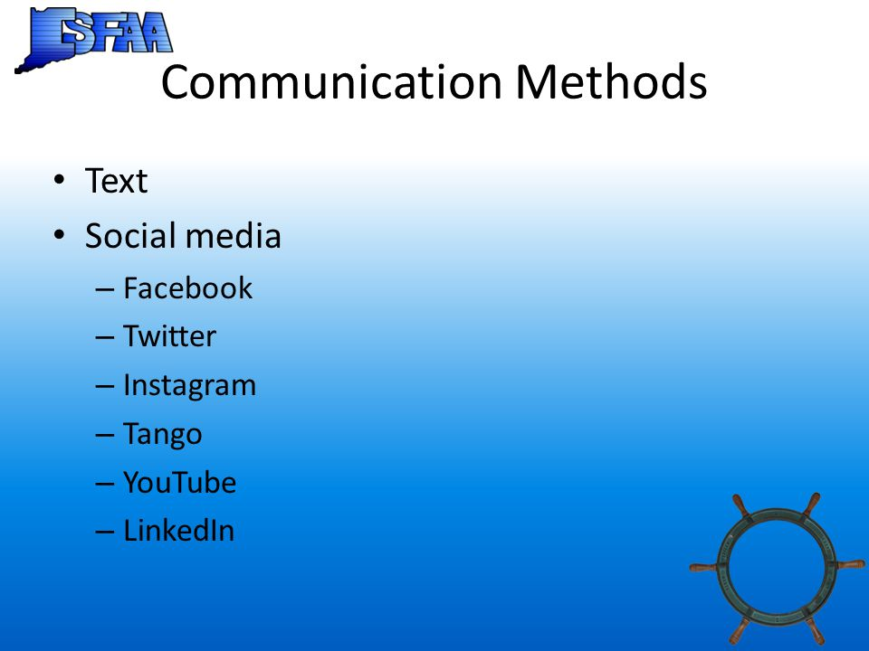Communication Methods Text Social media – Facebook – Twitter – Instagram – Tango – YouTube – LinkedIn